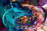 turbinio di colori brillanti in forme fluide e chiaroscuri in vortice astratto con oggetti opera di fusione di arte e pittura