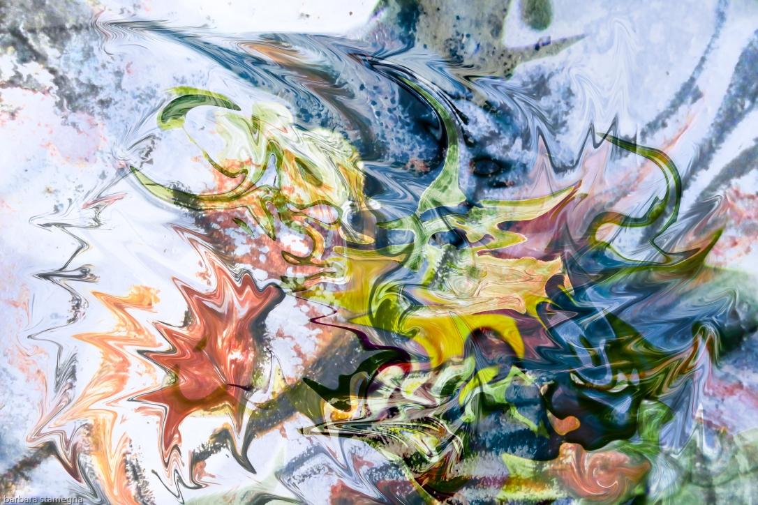 oggetti fluidi astratti, immagine a colori screziati con immagini fluttuanti opera di arte di fusione di immagini