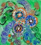 prato verde astratto con fiori pittura astratta
