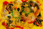movimento giallo astratto. immagine astratta su sfondo giallo con spirali e linee curve