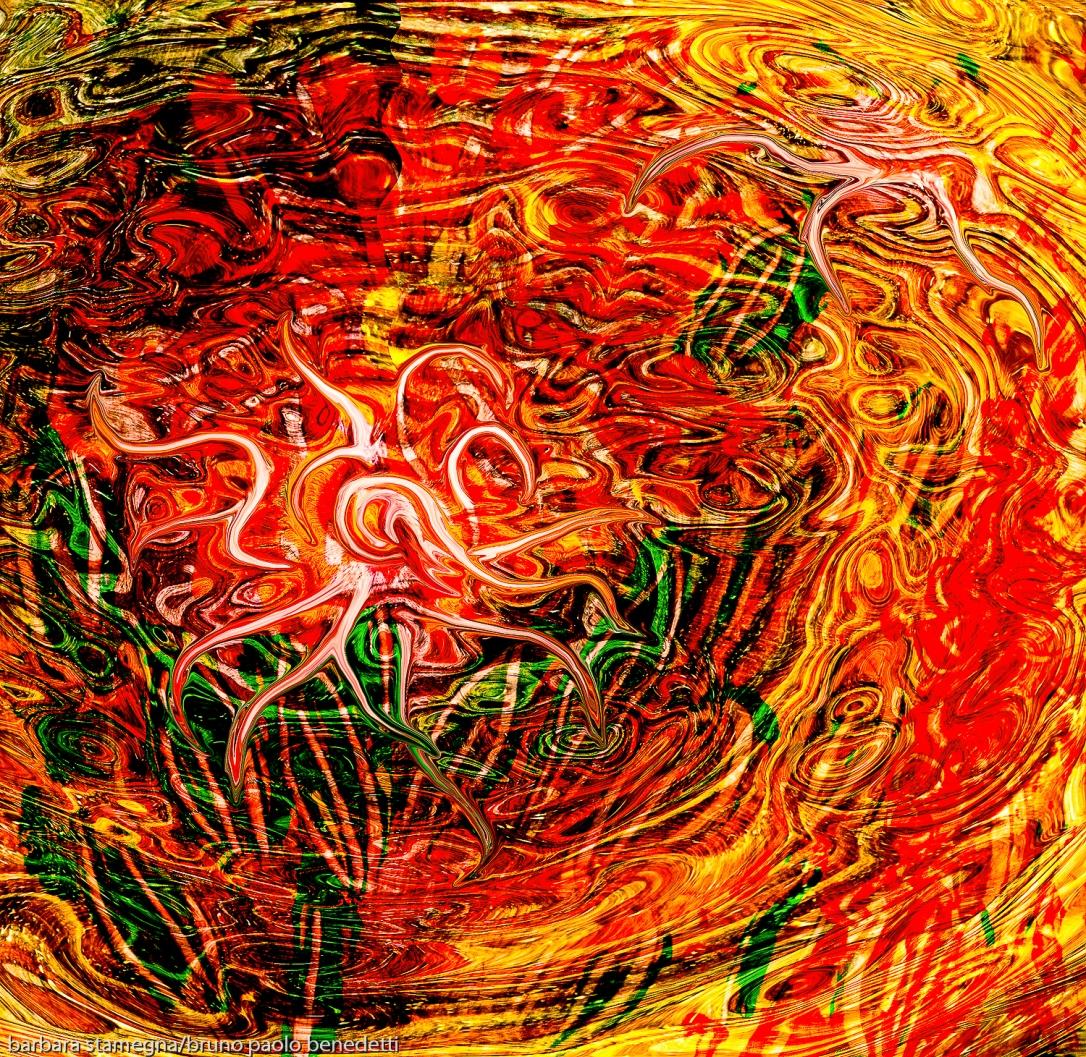 immagine di arte astratta con un movimento come di una energia fluida che nasce al centro di un vortice astratto