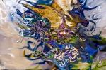 astrazione di forme fluide: immagine astratta fluida colorata con forme astratte fluide che si dissolvono