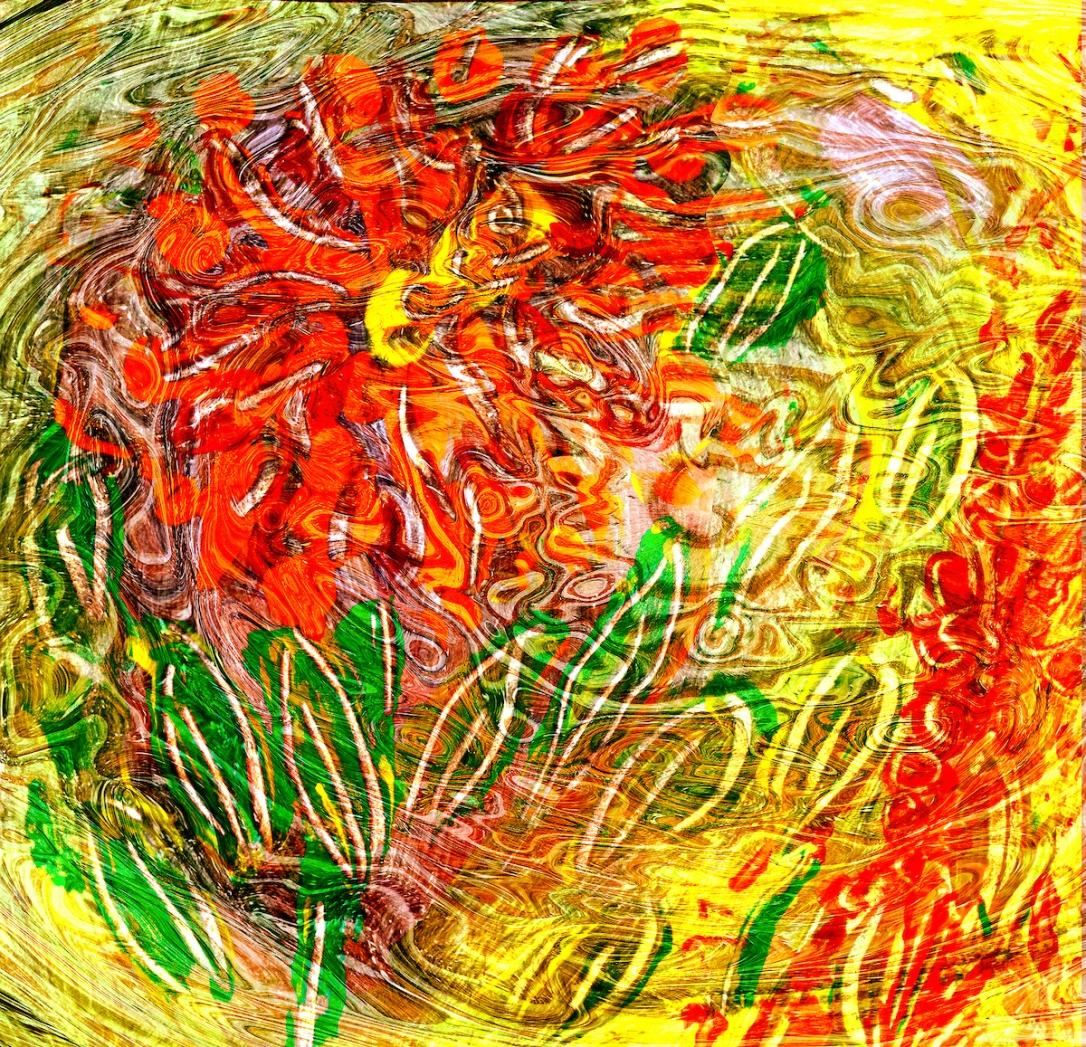 immagine astratta come una energia che si sprigiona da una astrazione di fiore astratto