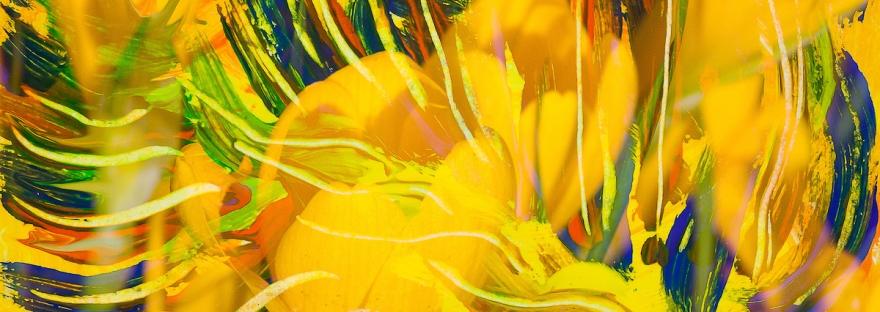 immagine astratta screziata come di fiori di colore giallo intenso con linee fluide ricurve in toni di dominante di colore giallo