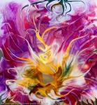 astrazione di fiore giallo fluido: immagine colorata stratta con al centro un fiore fluido astratto con molti colori