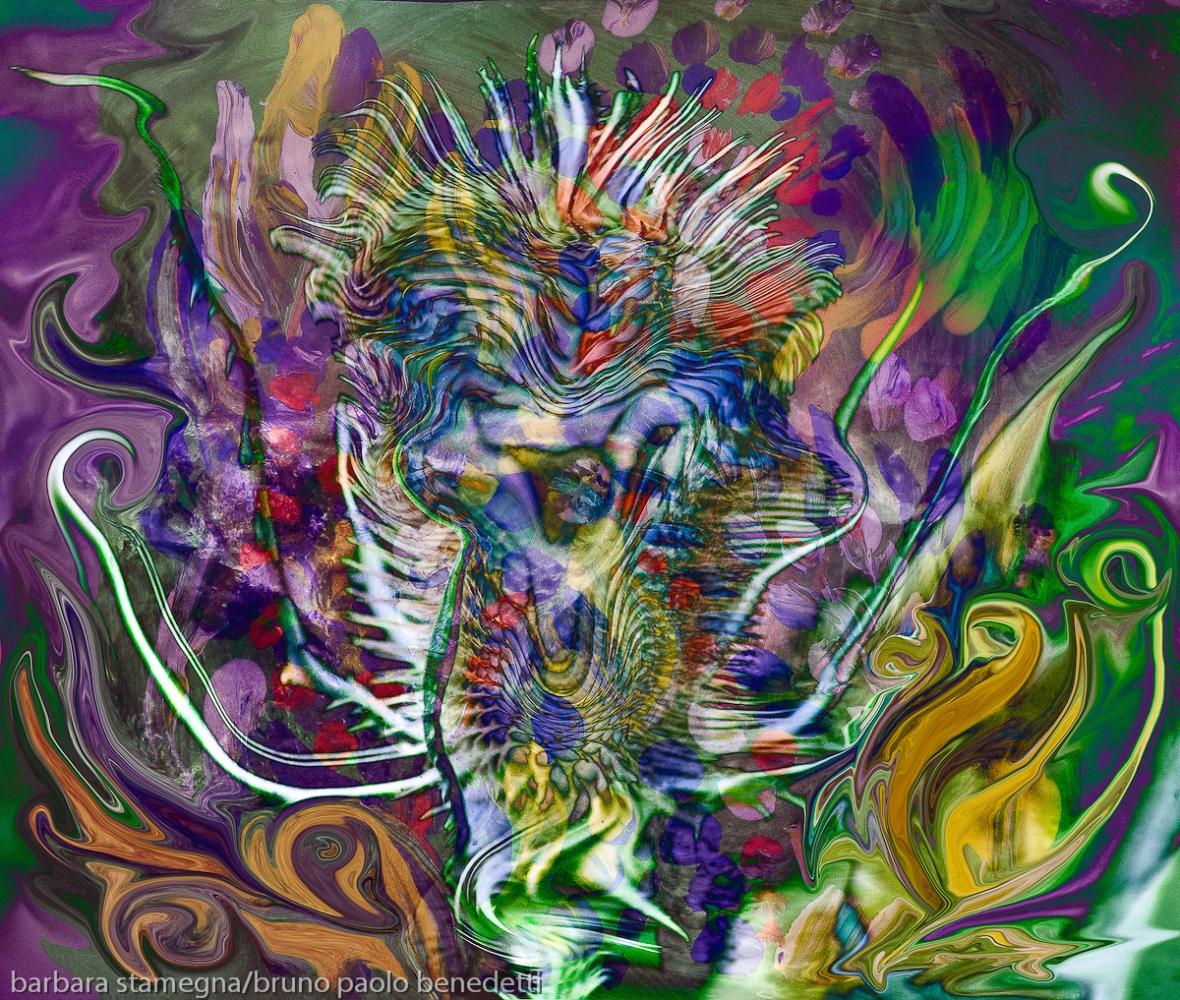 forma astratta spiniforme a forma di fiore: immagine colorata con forme fluide astratte e una forma centrale spinosa