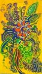 astrazione di fiore arancione su sfondo giallo foglie e forme astratte