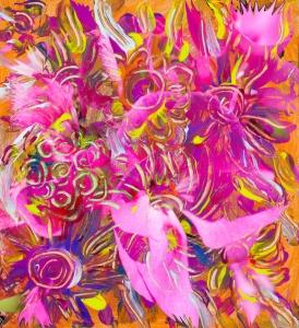 immagine con tema floreale astratto con forme simili a fiori con dominante di colore rosa e toni arancioni