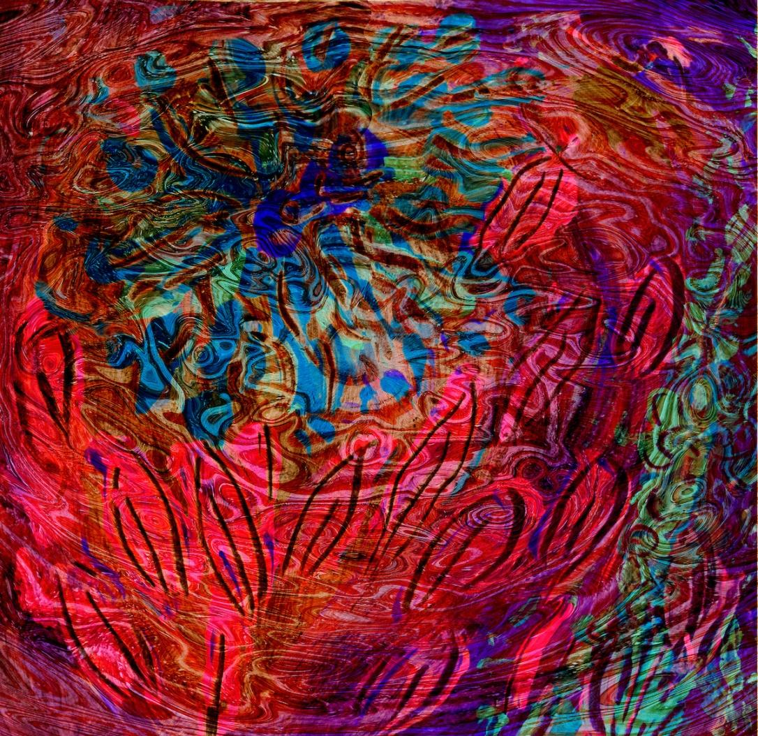 immagine astratta con forme simili a fiori e foglie sotto una superficie liquida di colore fuchsia scuro