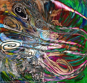 flusso di energia fluida astratta immagine colorata con colori brillanti e forme concentriche in movimento e riccioli su sfondo screziato