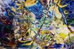 forme astratte blu gialle: immagine colorata con turbinii e toni brillanti e forme fluide,