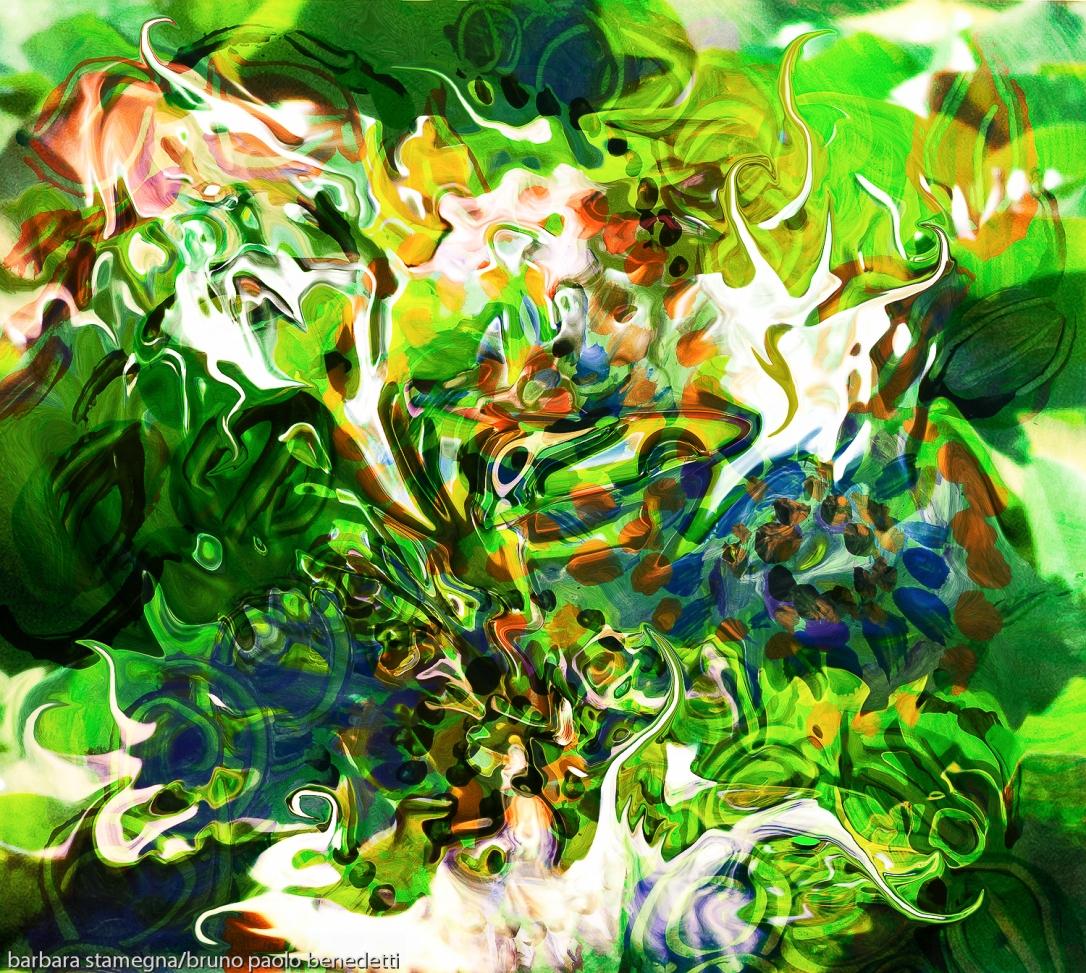 immagine in colore verde principale con movimento di forme fluide astratte in colore verde e bianco