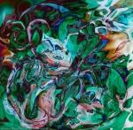 astrazione di labirinto verde in colori screziati brillanti
