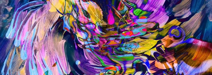 turbinio di flusso di colori ondeggiante,immagine dinamica di arte astratta con forme fluide astratte in movimento con sfumature di colore