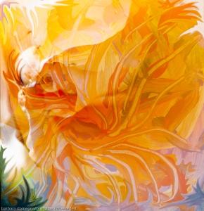 immagine onirica evocativa di fiore con pistilli dominante di colore arancione con forme fluide astratte