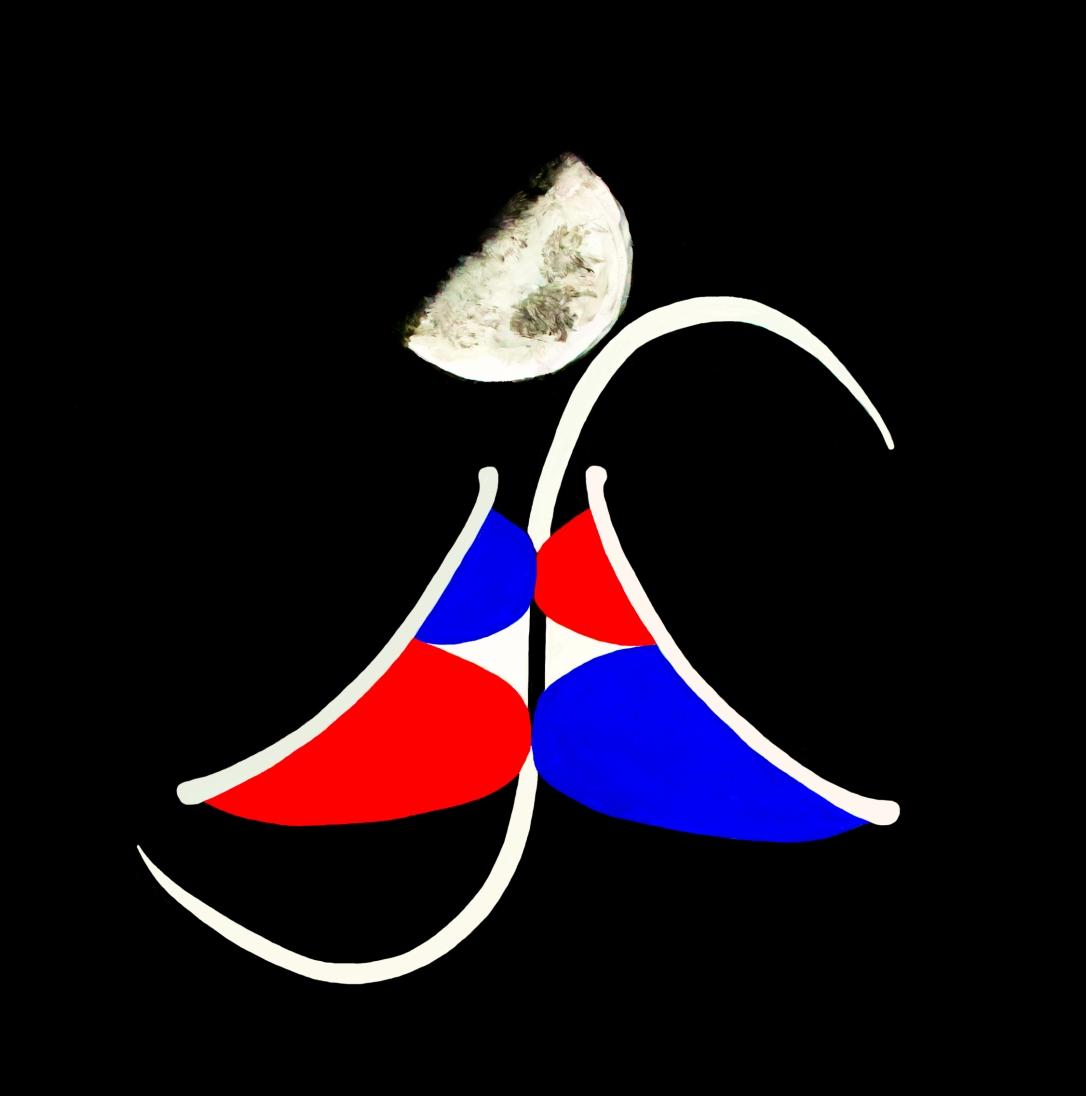 Il marchio BBS ART di Enterprise Arte dipinto a mano da Barbara Stamegna con rappresentazioni di lettere e luna su sfondo nero