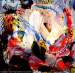 immagine dinamica di arte astratta con forme centrali bianche luminose e linee ricurve