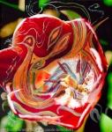 immagine astratta in toni dominanti di colore rosso con una immagine centrale dai colori caldi su uno sfondo verde scuro a chiazze
