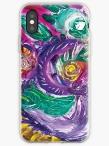 guscio telefono cellulare con mmagine astratta con vortici e forme circolari dai toni di color porpora con screziature e con colori verdi,bianchi,fucsia,porpora e gia