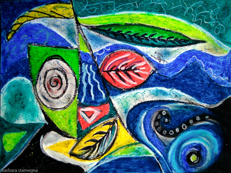 Foglie Astratte Su Sfondo Fluido Fluttuante Art Online