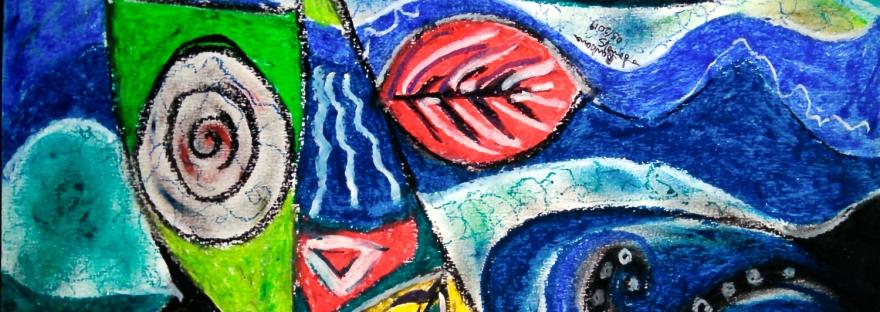 forme dinamiche astratte con colori verde e blu con toni di giallo su sfondo fluido fluttuante con foglie astratte e forme geometriche con linee spezzate e sfumature