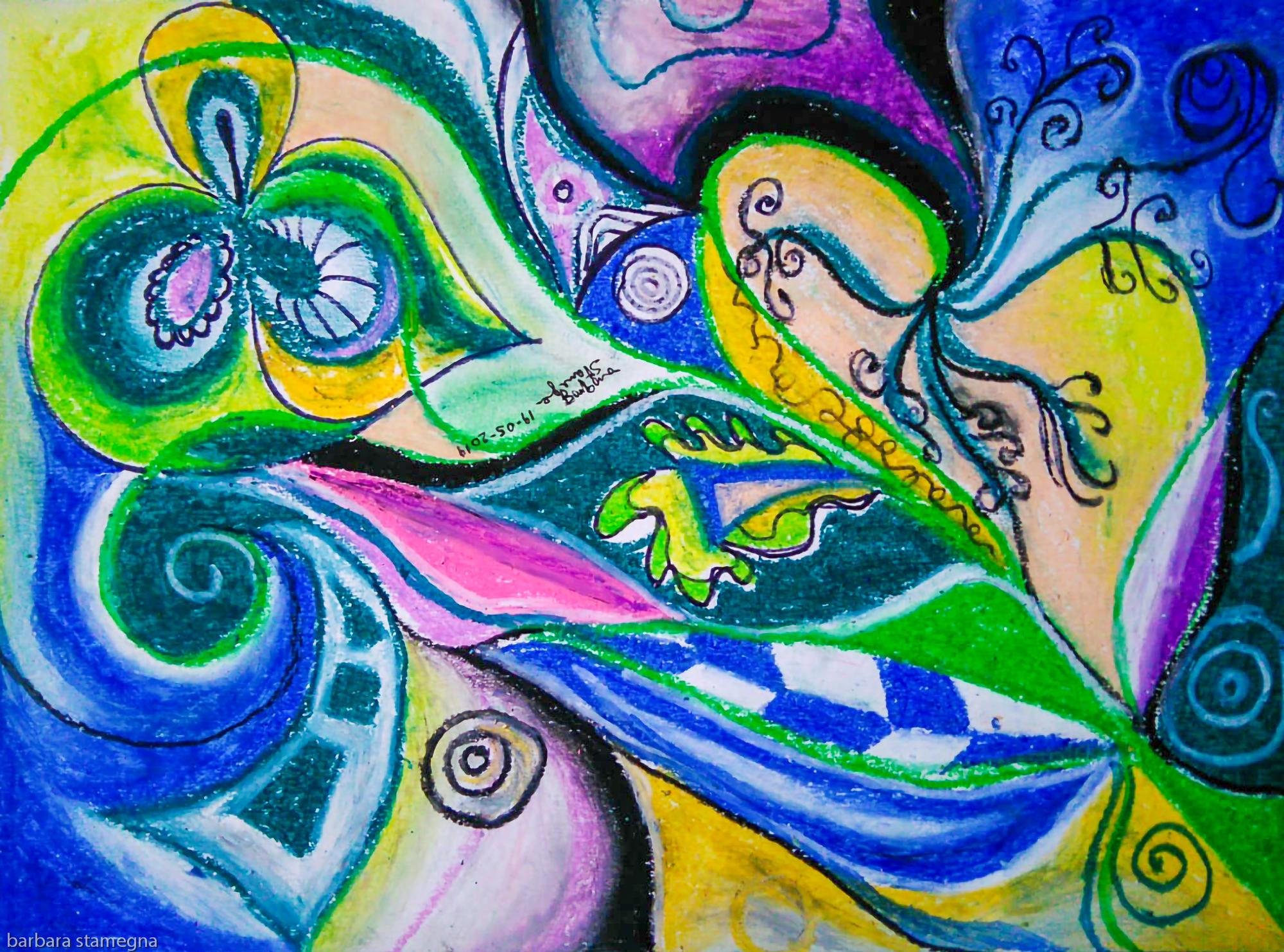movimenti di astrazioni blue verdi con vortici,cerchi e forme concentriche e a forma di foglia,forme geometriche e riccioli di vari colori con sfumature