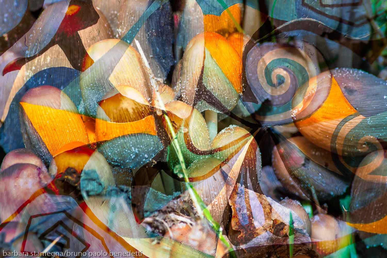 forme astratte dinamiche rotonde e trasparenze dai toni sfumati con riccioli e colori screziati