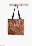 borsa tote dal design astratto dai colori natalizi con arricciature a vortice dai toni di rosso, verde, bianco, arancione, giallo e marrone
