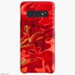 guscio cover per samsung galaxy con tema astratto dai toni di rosso profondo con forme fluide, macchie scure e linee gialle